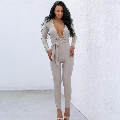 Deviant Nude Tie Jumpsuit - Fashion Genie Boutique USA Alt