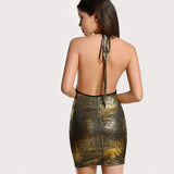 Fascination Gold Metallic Halter Mini Dress - Fashion Genie Boutique