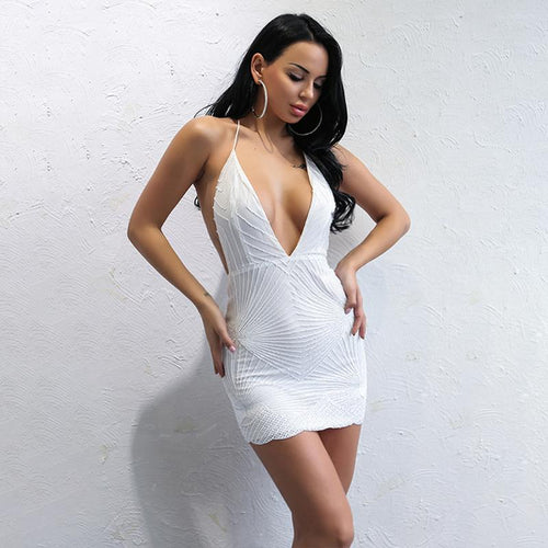 Sweet Pea White Plunge Sequin Mini Dress - Fashion Genie Boutique