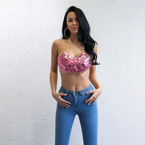 Palm Springs Pink Sequin Crop Top - Fashion Genie Boutique