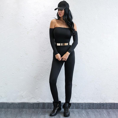 Back To Basics Black Bardot Long Sleeve Jumpsuit - Fashion Genie Boutique
