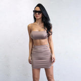 Desert Night Stone Blush Top & Cut Out Mini Skirt Two Piece - Fashion Genie Boutique