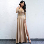 Luxury Lady Gold Bardot Glitter Embellished Long Sleeve Maxi Dress - Fashion Genie Boutique