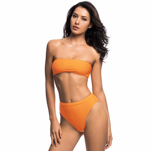 Poolside Service Orange Strapless Bikini Swimsuit - Fashion Genie Boutique USA Alt