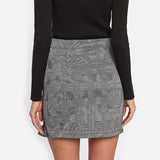 Wrap To It Grey Plaid Ruffle Wrap Mini Skirt - Fashion Genie Boutique USA Alt