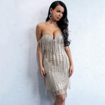 Iconic Bae Gold Fringe Glitter Embellished Mini Dress - Fashion Genie Boutique
