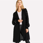 Simple Pleasure Black Bishop Sleeve Pearl Cardigan - Fashion Genie Boutique