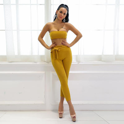 Byron Bay Yellow Strapless Crop Top & Trousers Two Piece - Fashion Genie Boutique