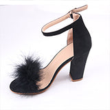 Love Bites Black Feather Strappy Heels - Fashion Genie Boutique USA Alt