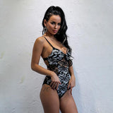 Kavos Black & White Lace Swimsuit - Fashion Genie Boutique
