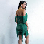 Iconic Bae Green Fringe Glitter Embellished Mini Dress - Fashion Genie Boutique