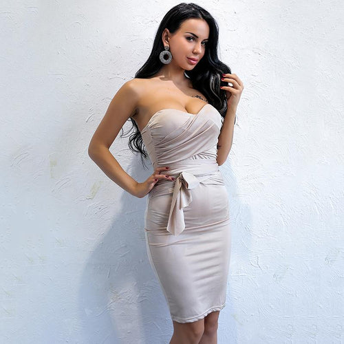 Touch Base Nude Strapless Mini Dress - Fashion Genie Boutique