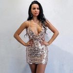 Make An Entrance Rose Gold Sequin Mini Dress - Fashion Genie Boutique USA Alt