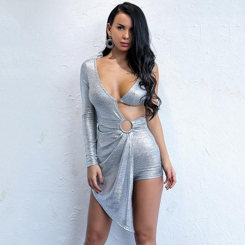 Sheer Me Out Silver Pleated Asymmetric Romper - Fashion Genie Boutique USA Alt