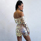 Drop A Glint Multi Iridescent Bardot Long Sleeve Sequin Mini Dress - Fashion Genie Boutique USA Alt