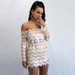 Drop A Glint Nude Bardot Long Sleeve Sequin Mini Dress - Fashion Genie Boutique USA Alt