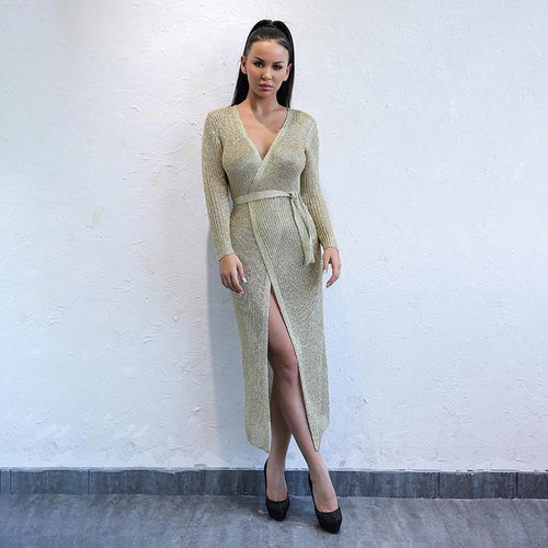 Wrapped Up In You Gold Metallic Knit Wrap Midi Dress - Fashion Genie Boutique USA Alt