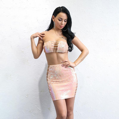 Little Miss Pink Iridescent Sequin Crop Top & Mini Skirt Co-Ord - Fashion Genie Boutique USA Alt