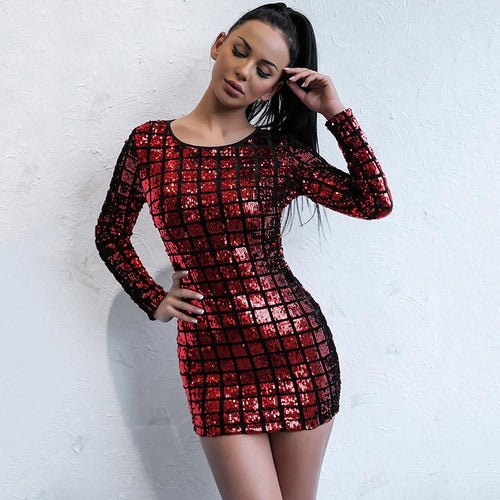 Fallon Red Long Sleeve Sequin Mini Dress - Fashion Genie Boutique USA Alt