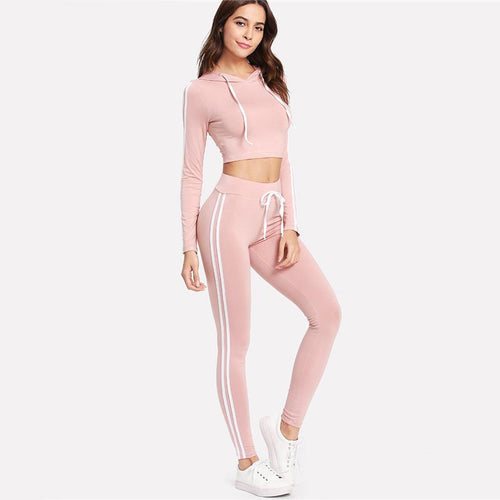 Give It A Rest Pink Cropped Lounge Set - Fashion Genie Boutique