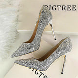 Till the Glitter Ends Silver High Heels - Fashion Genie Boutique USA Alt