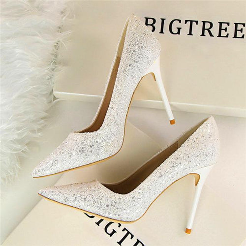 Till the Glitter Ends White High Heels - Fashion Genie Boutique USA Alt