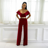 Sundown Burgundy Bardot Ruffle Jumpsuit - Fashion Genie Boutique USA Alt