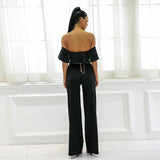 Sundown Black Bardot Ruffle Jumpsuit - Fashion Genie Boutique USA Alt