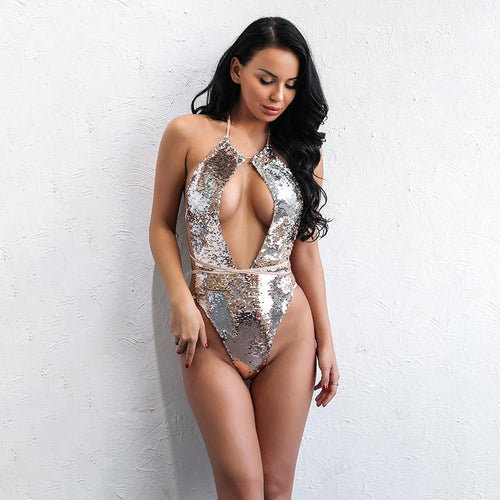 Danata Gold Sequin Monokini Swimsuit - Fashion Genie Boutique