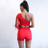 Bad Behaviour Red Crop Top & Shorts Two Piece - Fashion Genie Boutique