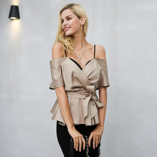 Sweet Like Candy Champagne Frill Sleeve Peplum Bardot Top - Fashion Genie Boutique