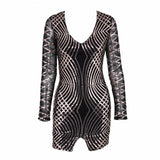 Hide And Sequin Black Long Sleeve Mini Dress - Fashion Genie Boutique USA Alt