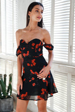Ellison Black Floral Print Bardot Dress - Fashion Genie Boutique