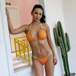 Palazzo Orange Crystal Bikini Swimsuit - Fashion Genie Boutique