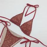 Illusion Red Glitter Embellished Bikini Swimsuit - Fashion Genie Boutique USA Alt