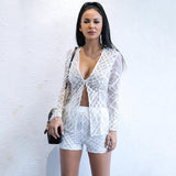 Spread Your Wings White Feather Jacket & Shorts Co-Ord - Fashion Genie Boutique USA Alt