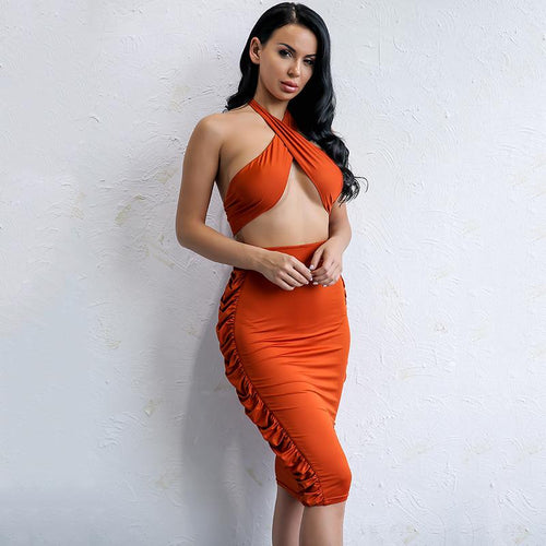 Hataz Terracotta Bandeau Crop Top & Midi Skirt Two Piece - Fashion Genie Boutique
