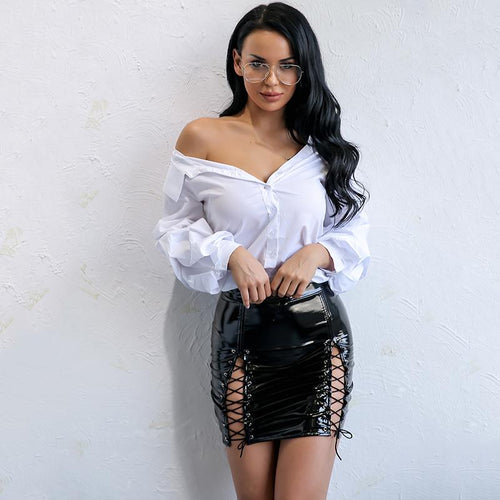Laced Black Faux Leather Lace Up Mini Skirt - Fashion Genie Boutique USA Alt