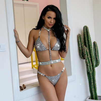 Malibo Babe Silver Sequin Crystal Bikini Swimsuit - Fashion Genie Boutique