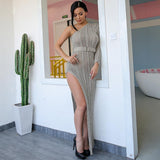 Knitty Or Nice Grey Asymmetric Maxi Dress - Fashion Genie Boutique