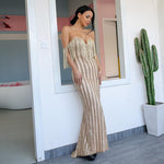 Dream Come True Gold Bardot Glitter Embellished Maxi Dress - Fashion Genie Boutique