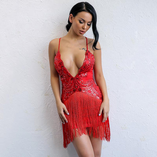 How Low Can You Go Red Sequin Fringe Mini Dress - Fashion Genie Boutique USA Alt
