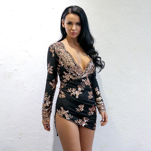 Addicted To You Black Rose Gold Long Sleeve Sequin Mini Dress - Fashion Genie Boutique USA Alt