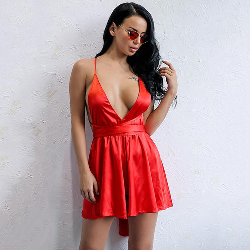 Dirty Martini Red Satin Romper - Fashion Genie Boutique USA Alt