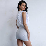 Can't Be Tamed White Glitter Embellished Feather Mini Dress - Fashion Genie Boutique USA Alt