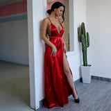 Cherished Red Satin Split Maxi Dress - Fashion Genie Boutique USA Alt