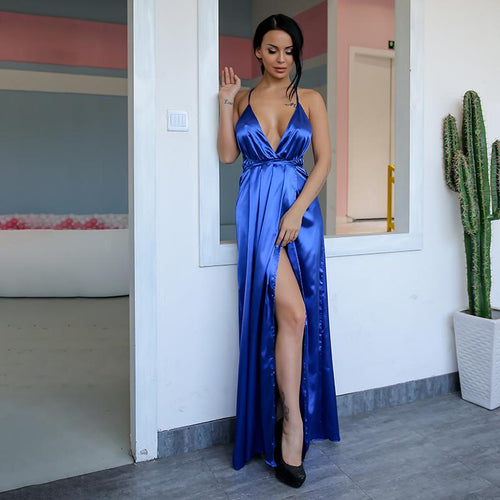 Cherished Blue Satin Split Maxi Dress - Fashion Genie Boutique USA Alt