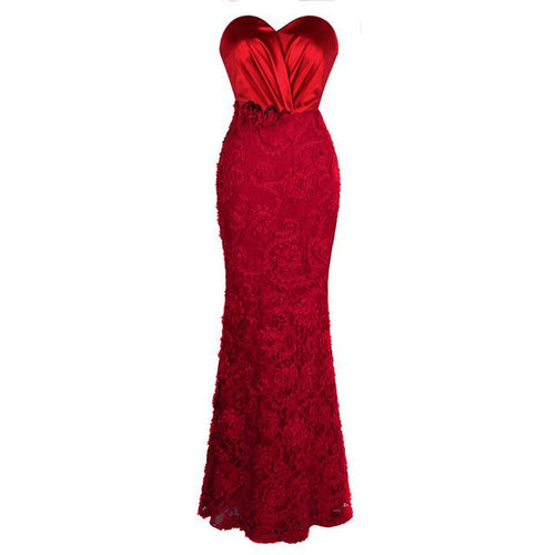 Art Of Persuasion Red Floral Lace Maxi Gown Dress - Fashion Genie Boutique
