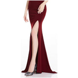 RSVP Burgundy One Shoulder Sequin Slit Maxi Gown Dress - Fashion Genie Boutique