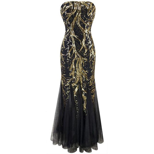 Ariel Sarah Gold & Black Sequin Fishtail Maxi Gown Dress - Fashion Genie Boutique